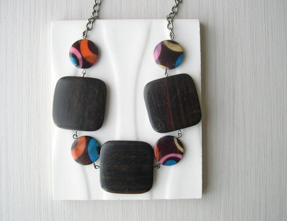 Wood Necklace - Anniversary Gift, Statement Jewelry, Chunky Beads, Mother of Pearl, Mod, Geometric, Brown, Orange, Pink, Yellow, Blue