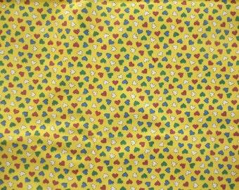 "Vintage 1960s Heart Cotton Calico Fabric 1 Yd + 14"" L 44"" W Heavy Cotton"