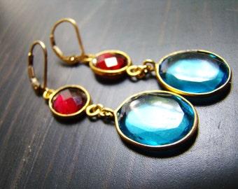 Sale 24k Blue Topaz Garnet Earrings. 24k gild vermeil leverbacks