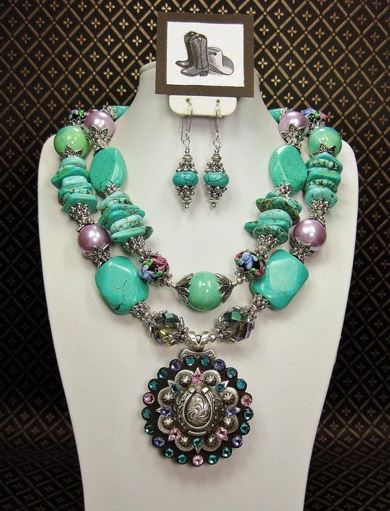 Turquoise Chunky Big Bold Cowgirl Statement Necklace With