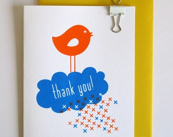 Thank you card - screen printed bird