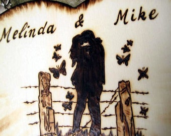 Wedding wooden sign -Just Married silhouette couple and butterflies -Personalized