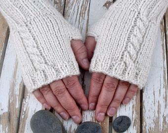 Knitting Fingerless Gloves in Cream, Women's Fingerless Gloves, Arm Warmers, Long Fingerless Gloves, Off White, Cream, Winter White