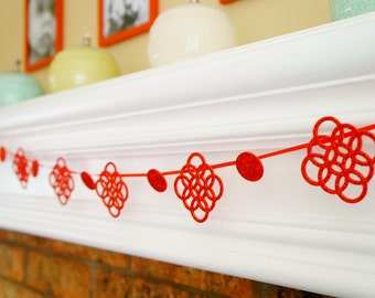 Red Holiday Party Garland - 5 Feet - Christmas Banner - Glitter Banner - Christmas Decor - Christmas Party Decor - Holiday Mantle Decor