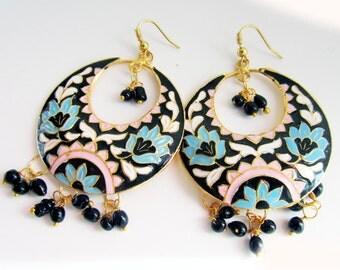 Enamel Earrings,Chand Bali, Lotus Earrings Dangle Chandelier Turquoise & Pink Gold Earrings by Taneesi