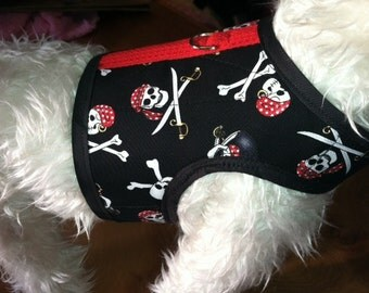 Crazy Pirate Small Dog Harness Made in USA, dog harnesses, pet clothing, Talk like a pirate day