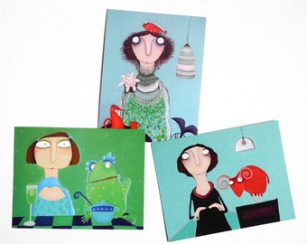 3 Fridge Art Magnets for christmas