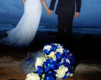 Cascading bridal bouquet with blue dendrobium orchids and roses, choose your orchid