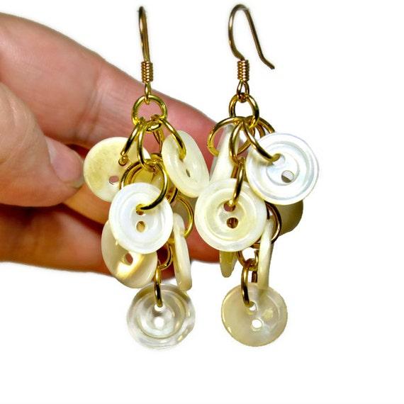 Repurposed Button Earrings Repurposed Jewelry By BluKatDesign