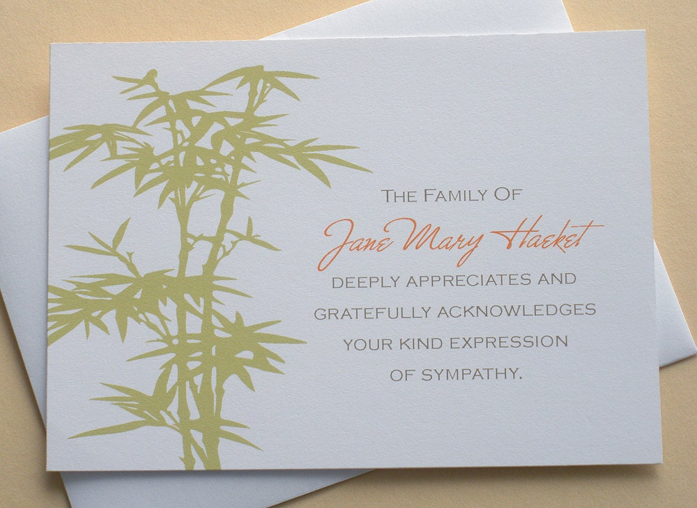 bamboo personalized sympathy thank you cardszdesigns0107