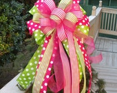 Wreath Bow, Spring Bow, Bow Topper, Garland Bow, Cute Bows For Wreaths, Pink and Lime