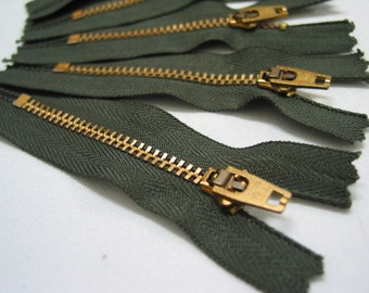 5 pcs, 3' inch Olive & Gold Metal Zippers