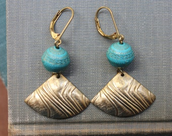 Teal golden etched beads, chevron earrings.