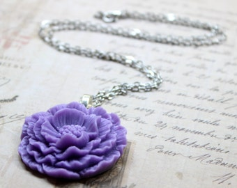 Sweet Ruffle Lavender/Purple/Lilac Rose Cabochon - Peony Necklace
