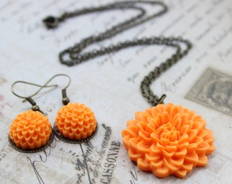 Bright Orange Tangerine flower necklace with matching earrings set
