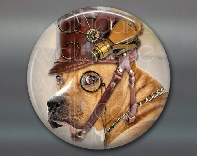 "3.5"" steampunk magnet, hound  dog decor, housewarming gift, kitchen decor, large fridge magnet, steampunk decor, stocking stuffer MA-1006"