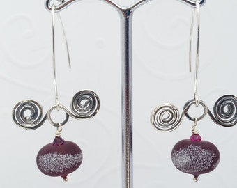 """Sterling Silver Double Spiral Earrings with Burgundy """"Sugar Coated"""" Lampwork Glass Bead."""