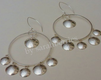 Earrings: Sterling Silver Hammered Disc Chandeliers, by sarahberries, 140006SC