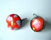 """handmade enamel jewelry, earrings """" Petals"""""""
