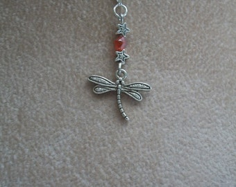 Dragonfly Necklace, Silver and Crystals, Spirit Jewelry, 5 colors, by Brendas Beading on Etsy