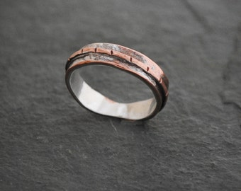 Textured Sterling Silver and Copper Flow Band Ring