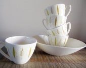 Reserved for Mark Knowles Festival F-5220 Pottery Set of Five Cups and Serving Bowl