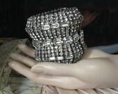 Reserved for Kitane - Extra Wide 1950s Vintage Rhinestone Bracelet