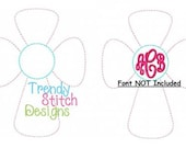 Cross Monogram Applique Design Machine Embroidery Design INSTANT DOWNLOAD Raggy