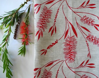 Linen Tea Towel Screen Printed Tea Towel Hand Printed Red&Natural Bottlebrush