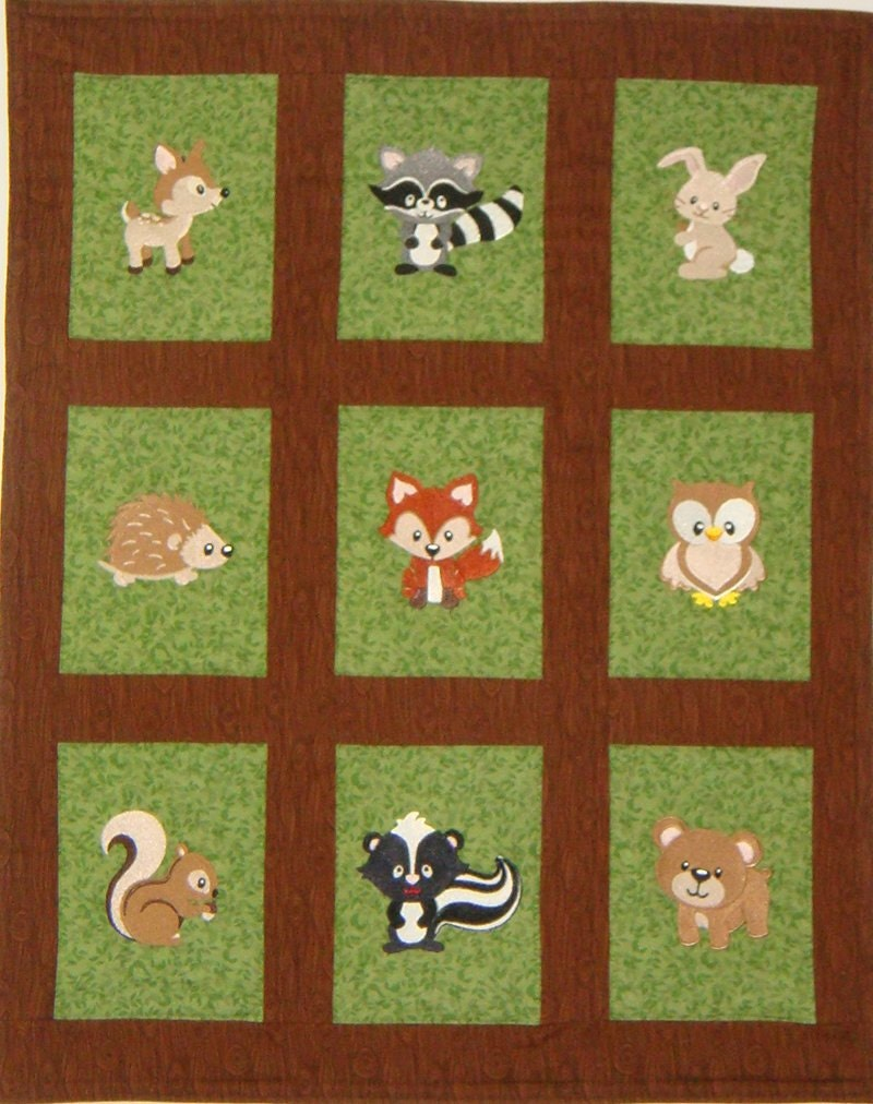 Embroidered Woodland Animals Baby Quilt Blanket You Choose