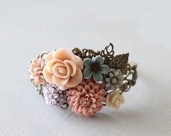 Flower Cuff Bracelet - Alice. pastel bouquet bracelet, vintage wedding jewelry