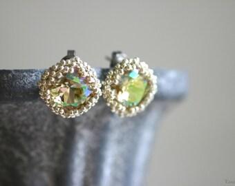 Swarovski Crystal Stud Earrings - Luminous Green / Silver