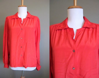 Red Blouse Vintage Oversized Drapey 1980s Medium