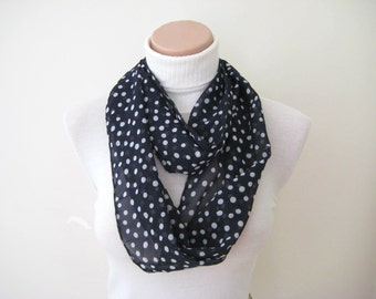 Dark Blue Scarf - Blue fabric with white polka dots - Long scarf - Infinity summer scarf - Gift for Her - Ready to Ship