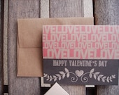 Valentine Card - Chalkboard Style Valentine's Day Card, Love Friendship, Coral Pink Kraft Paper Rustic Hearts Laurel Leaf, Modern Valentine - twin2kim