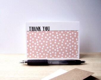 Modern Thank You Cards - Confetti Polka Dot Thank You Notes, Peach White Polka Dots, Thank You Card Set, Baby Showers, Weddings, Birthdays