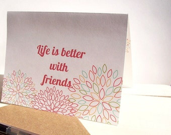 Friend Greeting Card - Birthday Card, Thank You Card, Friendship, Life Is Better With Friends, Mums Red Light Aqua Mint White, Custom Card