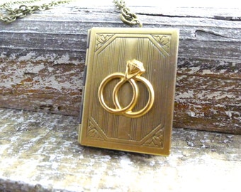 Wedding Album Locket Necklace - Wedding gift keepsake, Photo holder, handmade jewelry