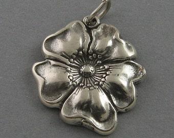 Sterling Silver 925 Charm Pendant POPPY FLOWER Garden br156