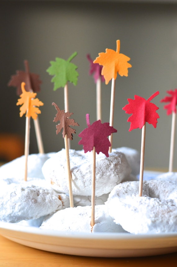 Fall Leaf Cupcake Toppers - 12 red, orange, yellow, green, burgundy and brown autumn picks