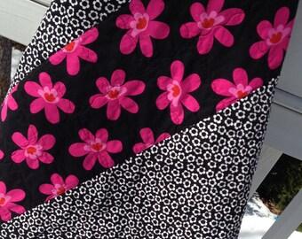 Modern Handmade Baby Infant Toddler Newborn Blanket  pink black white ready to ship