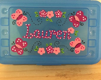 Personalized butterfly flower,pencil case, art, crayon box- perfect kids party favor -monograms or full name