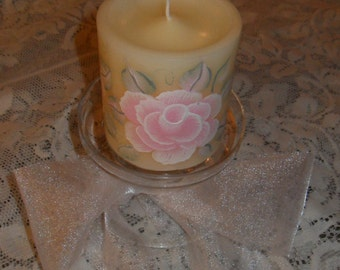 Hand Painted Light Pale Pink Rose Pillar Candle Glass Holder Set Shabby Victorian Cottage Chic