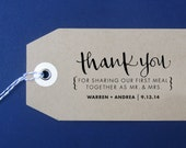 Thank You For Sharing Our First Meal Wedding Stamp, Handwritten Calligraphy - Personalized Stamp for Thank you notes, favors - Version K