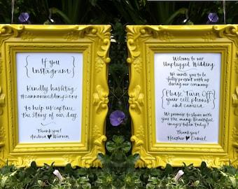 Unplugged Wedding Sign, Instagram Sign, Handwritten Calligraphy 5x7