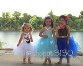 Frozen Inspired Tutu Anna Elsa Olaf Inspired Tutu Costume Dress for Dress Up or Halloween or Birthday Dress