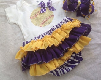Baby girl softball body suit/ ruffled softball bloomer/ softball/softball coach