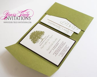 Grandfather Oak Tree Pocket Folder Wedding Invitation shown in Olive Green and Chocolate Brown Custom in your colors