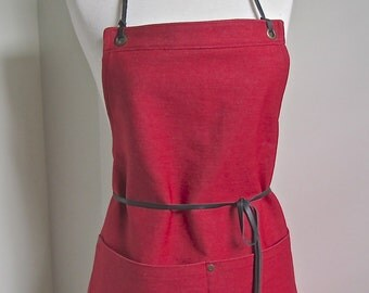 Full Apron  Woman Japanese Denim  Apron Red Denim  Skinny Leather Ties  Cook apron