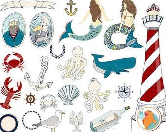 Mermaid ClipArt & Sailor Illustration, Nautical Image, Anchor Graphics, Beach Clip Art, Under the Sea Clip Art, Lighthouse, Octopus